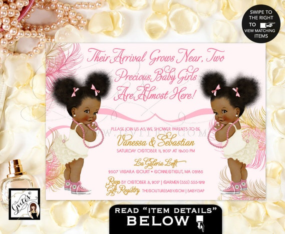Pink and gold twins african american baby girl baby shower il570xn filmwisefo