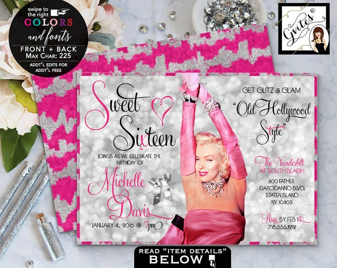 Pink and Silver Sweet 16 invitations, gold glitter birthday invitations, Marilyn Monroe, mis quince birthday glitz & glam 7x5 Digital File