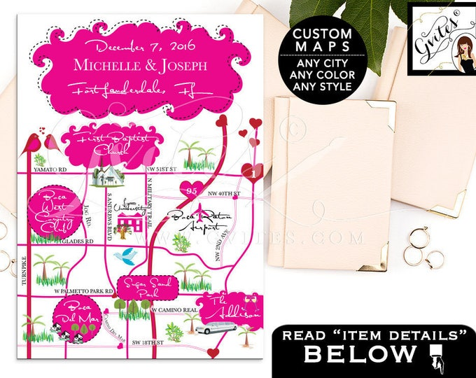 Wedding Map Fort Lauderdale Florida, Customizable for Save The Date, Anniversary, Bachelorette Party Weekend, Any theme/color or style.
