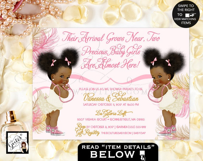 Twins African American baby girl baby shower invitations, pink, rose gold, blush pink, pearl white, ivory, pearls baby shower, #RBNAPU004