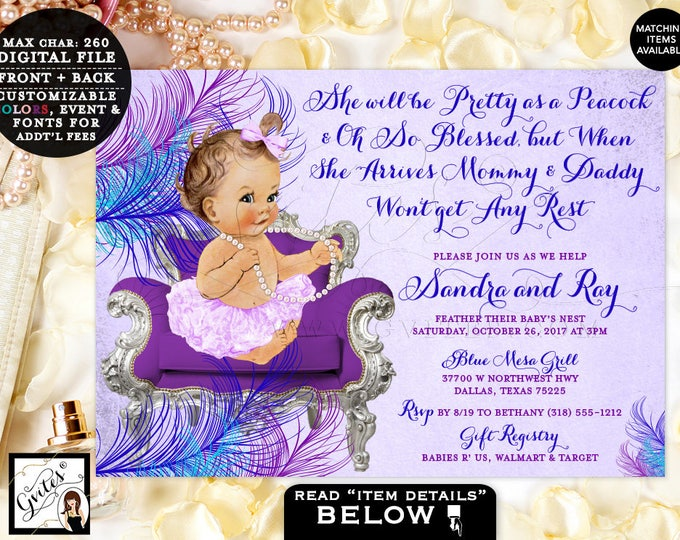 Peacock Baby Shower Purple Violet Blue Invites, She Will Be Pretty As Peacock, Lavender, PRINTABLE vintage baby invites, 7x5, #BSC13VBL