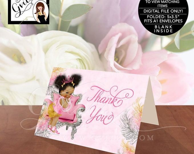 "Pink and Gold Thank You Cards, Baby Shower African American Princess Baby Vintage Girl, Afro Puffs, INSTANT DOWNLOAD 5x3.5""/2 Per/Sheet."