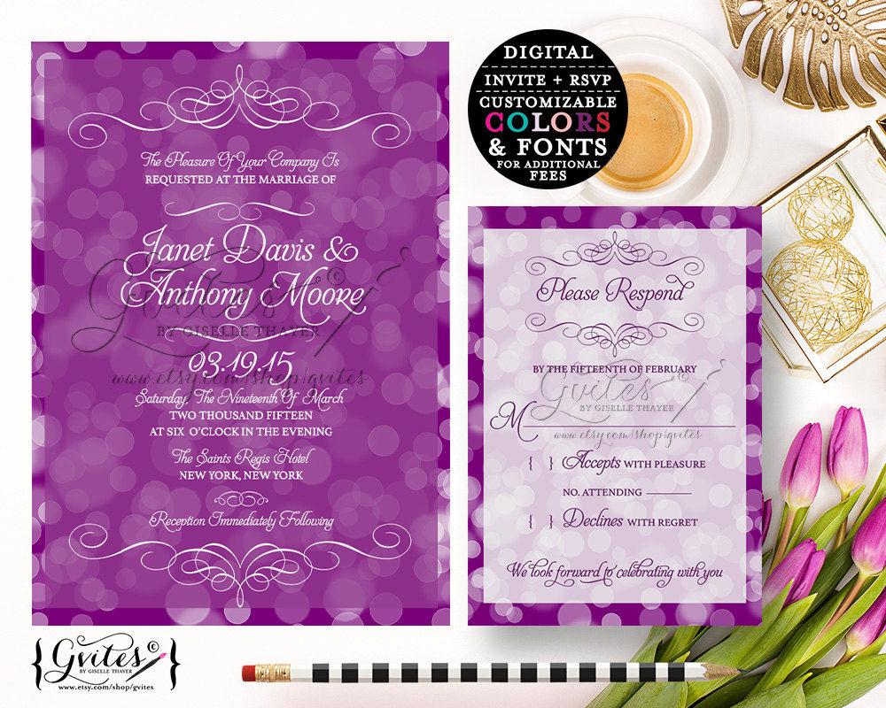 Purple Lavender Wedding Invitation Printable Lilac White Invitations Invite You Print
