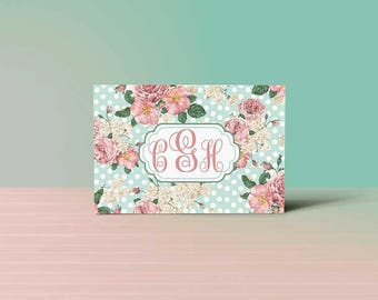 Roses and Dots Monogrammed Note Card Box Set of 12 note cards and envelopes, Thank you cards, Note Card Set, Stationary, Greeting Cards