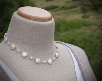Coin Pearl Necklace Freshwater Pearls Hand Knotted Silk Necklace Coin Pearls