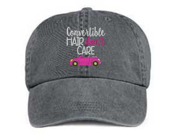 Embroidered Convertible Hat/ Convertible Hair Don't Care Hat/ Messy Hair Hat/ Convertible Hat/ Pigment Dyed Convertible Hat/ Embroidered Car