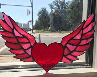 Winged Heart Flying Stained Glass Sun Catcher