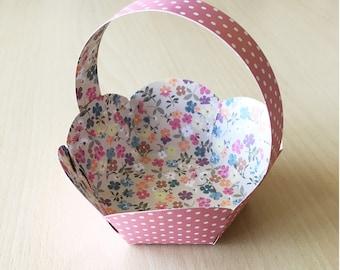 nice old Easter printed cardboard hexagonal basket pink polka dots