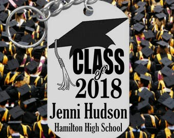 Class of 2018, Graduation Keychain Gift, Engraved and Personalized Free! Cap Design