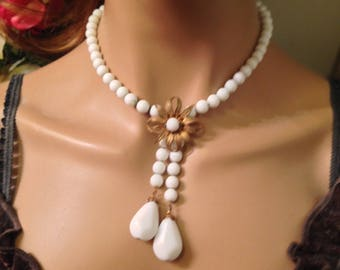 Estate Miriam Haskell Milk Glass Floral Tassel Necklace- Signed
