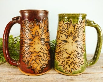 Greenman Stein 28 oz - Enchanted Forest - Autumn 2017 - Tea Mug Stoneware - Outdoorsy - Fall Coffee Mug Mugs - Fall Mugs - Mesiree Ceramics