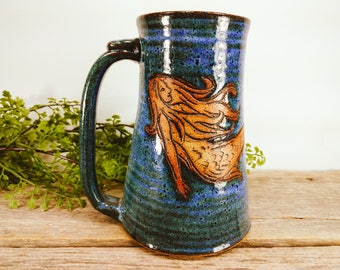 Mermaid Stein 28 oz - Large Mug for Tea - Large mug for Coffee - Under the Sea Gift for Her - Mermaid Mug - Big Mugs - Mesiree Ceramics