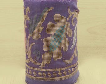 Free Shipping Indian Vintage Embroidered Used Sari Border Purple Antique Ribbon Sewing 1YD VB14745