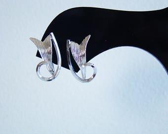"""Vintage Estate Signed 925 Sterling Silver Screv Back 3/4"""" Earrings"""