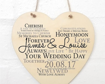 Personalised Wedding Hanging Heart Sign Plaque.
