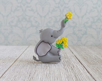 Elephant - Flowers - Animal - Cute Animals - Strength - Honor - Patience - Lapel Pin