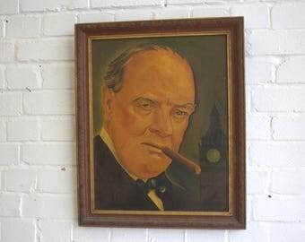 Framed Oil Painting Of Winston Churchill Circa 1930s