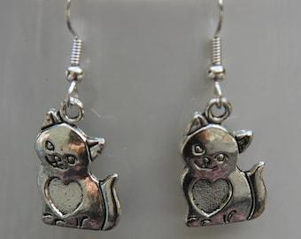 Kitty Heart Earrings