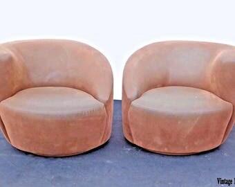 Pair of Vintage Vladimir Kagan Style Brown Suede Swivel Club Chairs