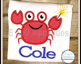Personalized 4th of July Patriotic Crab Applique Shirt or Onesie Girl Boy