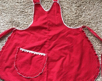 Vintage Over The Shoulder Red Apron
