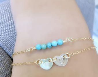 Turquoise layered bracelet Heart bracelet hand stamped hearts monogram initial 14k gold filled letters Personalized monogram jewelry hearts
