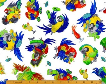 Margaritaville Parrots  Fabric in White From Quilting Treasures By Jimmy Buffett 100% Cotton