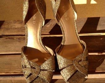 Gold Glitter Heels, Gold Shoes, Glitter heels, Gold Wedding Shoes, Bridal shoes, Evening Heels, Gold Party Heels, Gold Sandals, Glitter Shoe
