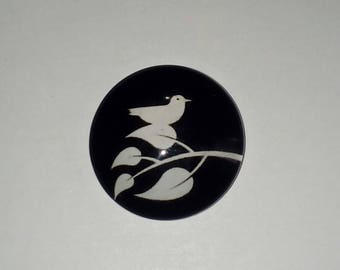 X 1 White Bird on a branch 20mm glass Cabochon