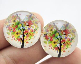 X 1 tree of life Cabochon multicolor 20mm