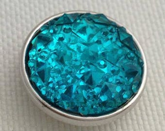Resin snap button 18mm turquoise faceted