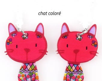 X 1 acrylic colorful red head cat
