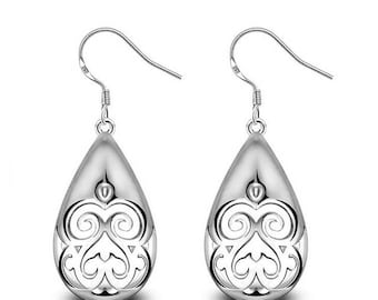 Dangling earrings carved plated Silver 925
