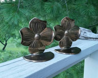 Brass Dogwood Bloom Bookends Mid Century Home Decor