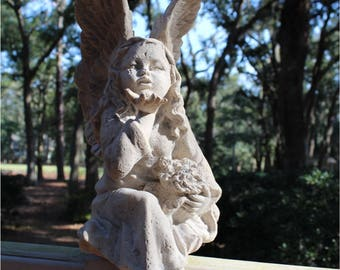 "Pixie Fairy Statue made of Faux Marble Garden or Home Sculpture Statue 16"" Tall"