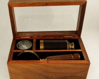 Telescope, Compass and Magnifying Glass - Small Box Set Antique Reproduction