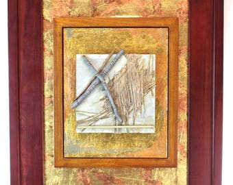 Denise Clayton Leonard Mixed Media Copper Gold Nature Resonance Artwork