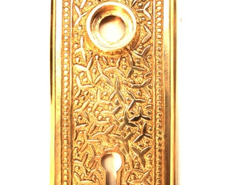 Door Back Plate with Rice Pattern Brass Hardware for Restoration