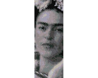 Frida Kahlo, picture, photo in black and white, bead PEYOTE PATTERN, beading pattern, stitch (even count peyote pattern for bracelet, cuff)
