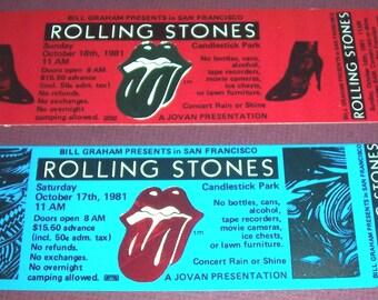 2 original 1981 unused Rolling Stones concert tickets, Candlestick Park