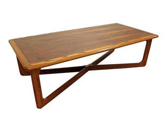 Mid-Century Coffee Table Danish Modern Lane Perception Oak Walnut X-Base Coffee Table #1