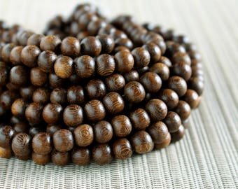 8mm Natural Robles Round Premium Wood Beads - 15 inch strand