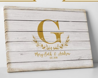 Gold Print or Gallery Wrapped Canvas, Rustic Wedding Guestbook Alternative, Wood Appearance, Faux White Wood Look, Monogram, 1-250 guest