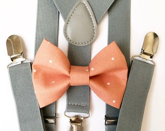FREE DOMESTIC SHIPPING! Gray suspenders  + coral polka dot Bow tie toddler kids boy boys Adult holidays photos family photoshoot
