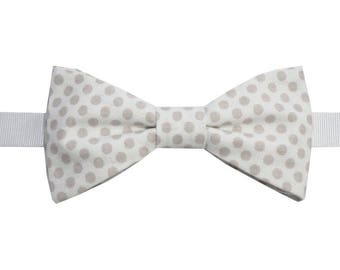 Taupe white polka dot bow with straight edges