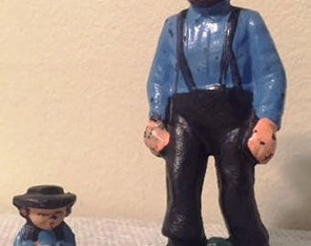 Vintage Cast Iron Amish Father and Son