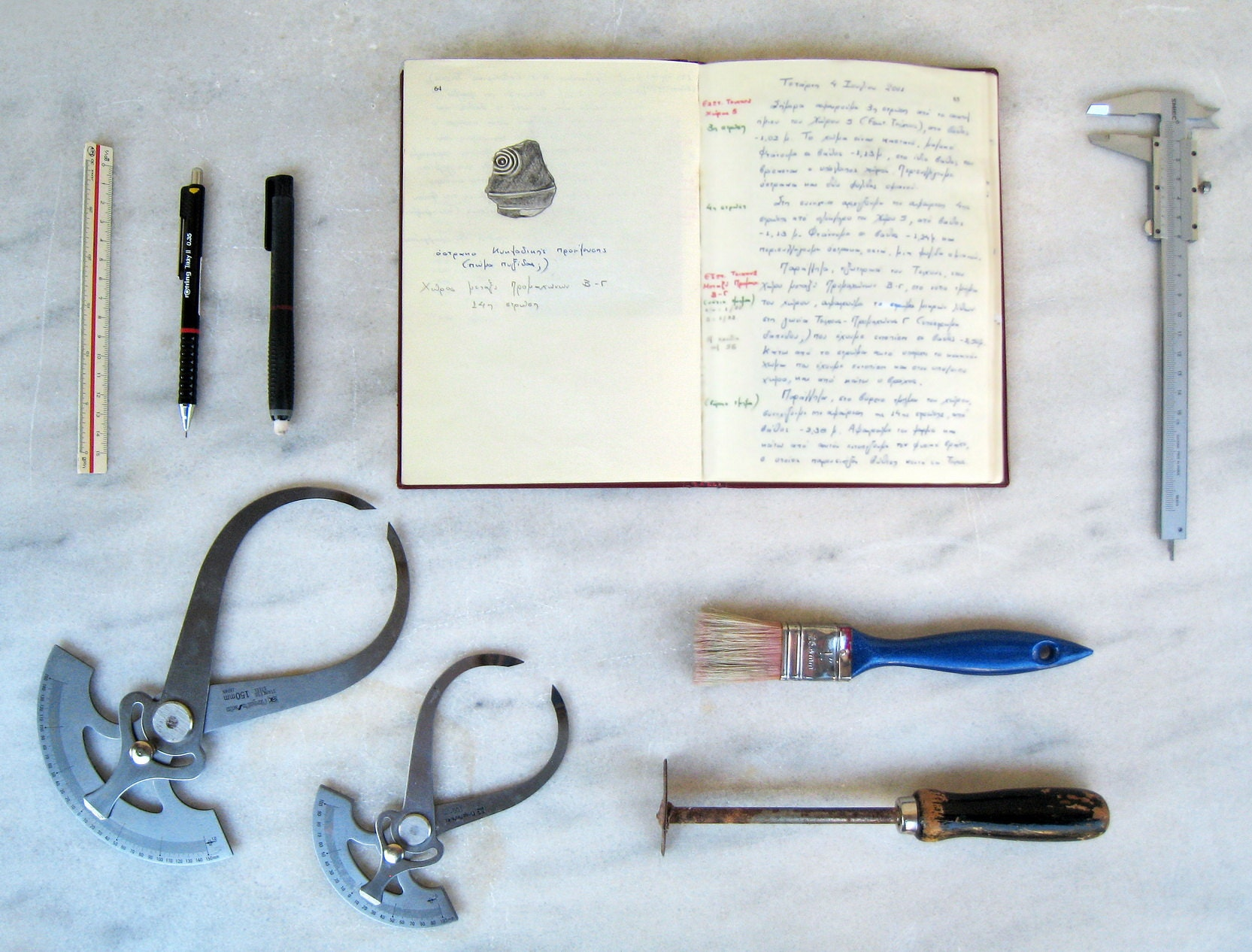 Her journal is one of her most valuable tools on a dig, along with brushes and metal instruments for cleaning and measuring findings
