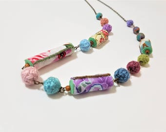 Textile Long Necklace. Boho. Handmade Beads. Fabric and Wool Yarn Fibre Necklace. Pastel Floral Bohemiam Jewelry.