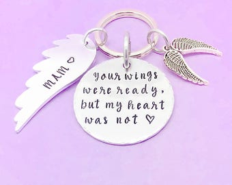 Memorial Keyring, Memorial Gift, Your Wings Were Ready But My Heart Was Not, Personalised Keyring Keychain, Hand Stamped Gift, Angel Wings