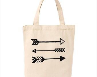 Market tote with arrows, canvas bag, reusable tote, arrows, reusable canvas bag, tote bag, grocery bag